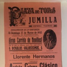 Carteles Toros: CARTEL DE TOROS- JUMILLA 1.932. Lote 99644507