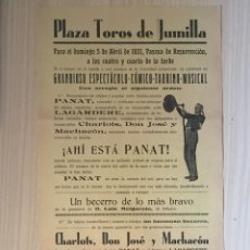Carteles Toros: CARTEL DE TOROS- JUMILLA 1.931. Lote 99645863