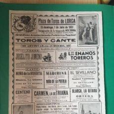 Carteles Toros: LORCA- CARTEL DE TOROS 1.951. Lote 99922855
