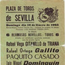 Carteles Toros: CARTEL DE TOROS EN SEVILLA 1965. Lote 100488455
