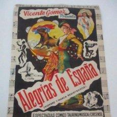Carteles Toros: CARTEL TAURINO - VICENTE GÓMEZ - ALEGRÍAS DE ESPAÑA - PLAZA DE TOROS DE GERONA (GIRONA) - AÑO 1961. Lote 100616163