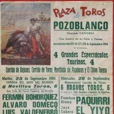 Carteles Toros: CARTEL TOROS MUERTE PAQUIRRI JUNTO CON ENTRADA DE ESE FATIDICO DIA ORIGINAL. Lote 100918127