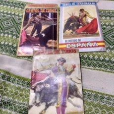 Carteles Toros: TRES CARTELES TOROS TAUROMAQUIA RECUERDO DE ESPAÑA EN SOBRE ORIGINAL DE CARTÓN. ALGUNA MANCHA DE. Lote 101040971