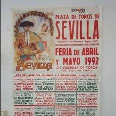 Carteles Toros: CARTEL TOROS SEVILLA FERIA 92 EXPO9 MURAL MUERTE MONTOLIU UNICO TODOCOLECCION MUY DIFÍCIL ENCONTRAR. Lote 101279351
