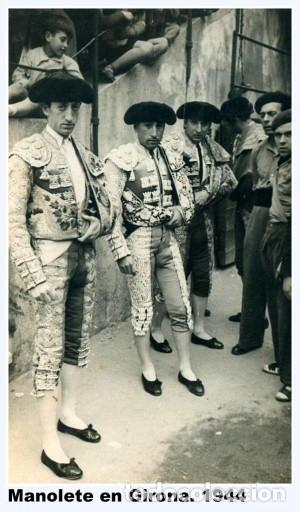 Carteles Toros: Cartel toros antiguo Manolete en la desaparecida plaza Gerona 1944 - Foto 2 - 101367291