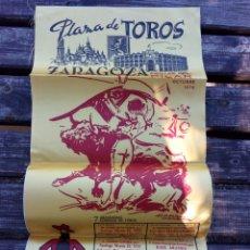 Carteles Toros: CARTEL DE TOROS DE SEDA,FIESTAS DEL PILAR OCTUBRE 1976.. Lote 101533664