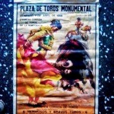 Carteles Toros: CARTEL TAURINO DE - PLAZA DE TOROS LA MONUMENTAL - 7 ABRIL1968 ILUSTRADO POR BALLESTER TAMAÑO 97X50. Lote 101570491