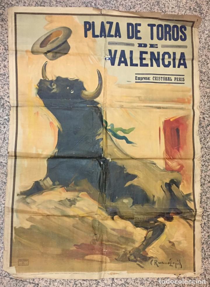 CARTEL DE TOROS GIGANTE, VALENCIA. CRISTOVAL PERIS, PINTO LLOPIS 161X114 (Coleccionismo - Carteles Gran Formato - Carteles Toros)