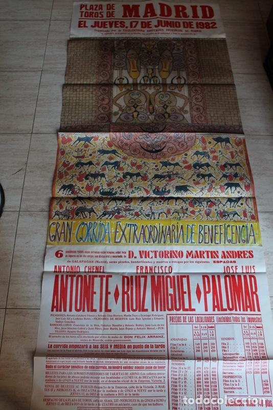 CARTEL DE TOROS DE 17 DE JUNIO DE 1982. BENEFICENCIA. ANTOÑETE, FRANCISCO RUIZ MIGUEL, ETC. (Coleccionismo - Carteles Gran Formato - Carteles Toros)