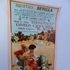 Carteles Toros: CARTEL DE TOROS EN SEVILLA ABRIL 1999 MEDIDAS 45X23 CM. Lote 102824227