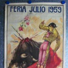 Carteles Toros: FERIA JULIO 1959 PABELLON CIRCULO TAURINO VALENCIANO. CERVEZA SAN MIGUEL. ILUSTRADOR J. REUS. Lote 113223660