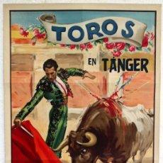 Carteles Toros: CARTEL TOROS, PLAZA DE TANGER 1950 ,INAUGURACION DE LA PLAZA, J. REUS , LITOGRAFIA ORIGINAL,. Lote 103324843