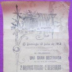 Carteles Toros: CARTEL TOROS, PLAZA REQUENA, VALENCIA, 1913, FRANCISCO BRIGIDANO, CT58. Lote 103378775