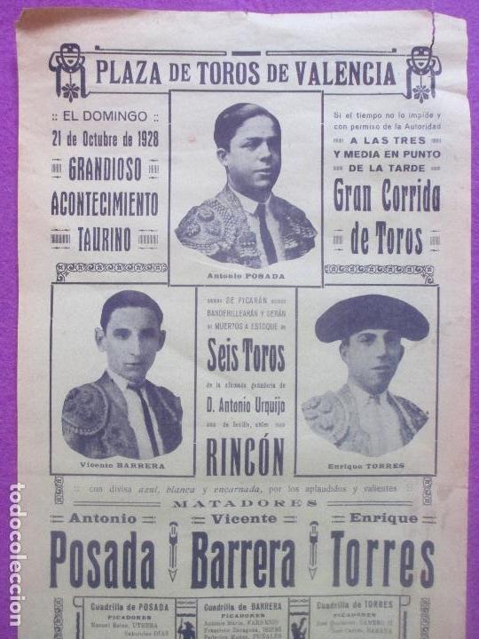 CARTEL TOROS, PLAZA VALENCIA, 1928, POSADA, BARRERA, TORRES, CT66 (Coleccionismo - Carteles Gran Formato - Carteles Toros)