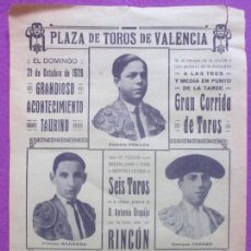 Carteles Toros: CARTEL TOROS, PLAZA VALENCIA, 1928, POSADA, BARRERA, TORRES, CT66. Lote 103380943