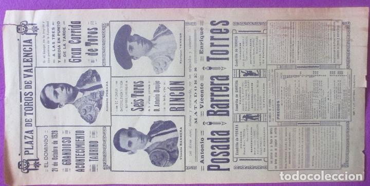 Carteles Toros: CARTEL TOROS, PLAZA VALENCIA, 1928, POSADA, BARRERA, TORRES, CT66 - Foto 2 - 103380943