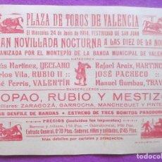 Carteles Toros: CARTEL TOROS, PLAZA VALENCIA, 1914, YECLANO, RUBIO II, VALENTIN, MARTINCHO, CT69. Lote 103382367