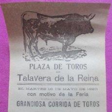 Carteles Toros: CARTEL TOROS, TALAVERA DE LA REINA, TOLEDO, 1922, PASTORET, MARIANO MONTES, CT76. Lote 103391139