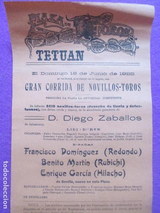 CARTEL TOROS, TETUAN, 1922, REDONDO, RUBICHI, HILACHO, CT79 (Coleccionismo - Carteles Gran Formato - Carteles Toros)