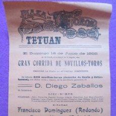 Carteles Toros: CARTEL TOROS, TETUAN, 1922, REDONDO, RUBICHI, HILACHO, CT79. Lote 103392643