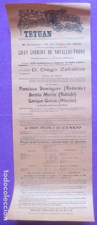 Carteles Toros: CARTEL TOROS, TETUAN, 1922, REDONDO, RUBICHI, HILACHO, CT79 - Foto 2 - 103392643