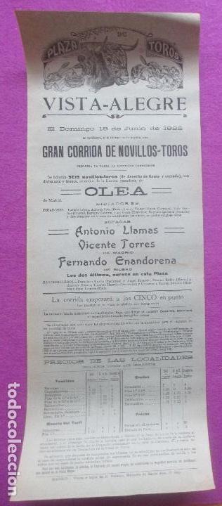 Carteles Toros: CARTEL TOROS, VISTA-ALEGRE, MADRID, 1922, ANTONIO LLAMAS, VICENTE TORRES, FERNANDO ENANDORENA, CT81 - Foto 2 - 103469607