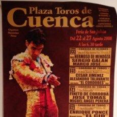 Carteles Toros: CARTEL TOROS CUENCA 2008 JOSE TOMAS DE ESCAPARATE. Lote 103478951