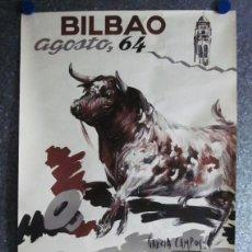 Carteles Toros: TOROS BILBAO. AÑO 1964. LITOGRAFIA. ILUSTRADOR GARCIA CAMPOS. EL CORDOBES, LITRI, PUERTA.... Lote 137330286