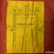 Carteles Toros: 1921 CARTEL DE TOROS DE SEDA DE MADRID BENEFICENCIA 8 DE JUNIO - EL GALLO VARELITO CHICUELO GRANERO. Lote 103965563