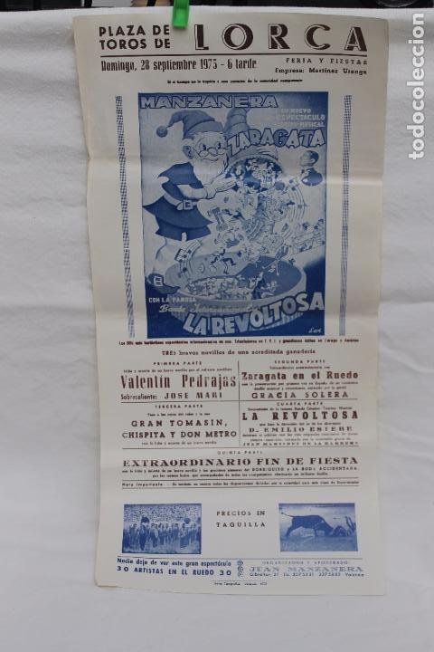CARTEL PLAZA TOROS DE LORCA, 1975, CARTEL TOROS, Y ESPECTACULO, BANDA INTERNACIONAL LA REVOLTOSA (Coleccionismo - Carteles Gran Formato - Carteles Toros)