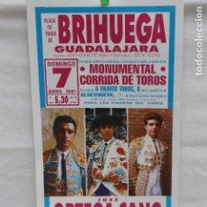 Carteles Toros: MINI CARTEL DE PLAZA DE TOROS DE BRIHUEGA - GUADALAJARA- ABRIL 1991-ORTEGA CANO, JOSELITO Y ZORITA. Lote 104818051
