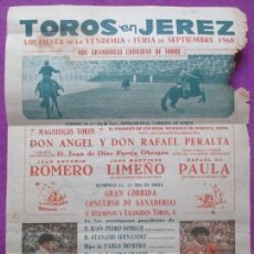 Carteles Toros: CARTEL TOROS, PLAZA JEREZ, 1960, JULIO APARICIO, ANTONIO ORDOÑEZ, CT84. Lote 106004539