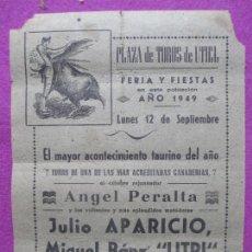 Carteles Toros: CARTEL TOROS, PLAZA UTIEL, VALENCIA, 1949, APARICIO, LITRI, JIMENEZ, CT92. Lote 106015859