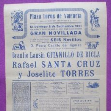 Carteles Toros: CARTEL TOROS, PLAZA VALENCIA, 1951, GITANILLO DE RICLA, SANTA CRUZ Y JOSELITO TORRES, CT96. Lote 106080883