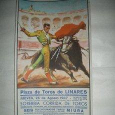 Carteles Toros: PLAZA DE TOROS LINARES MANOLETE 1947. Lote 143305790
