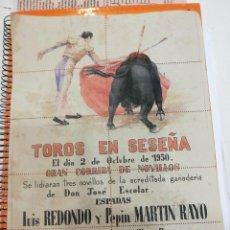 Carteles Toros: CARTEL DE TOROS 1950 POR ATRAS SON ENTRADAS ¡CURIOSA PIEZA!. Lote 107303851