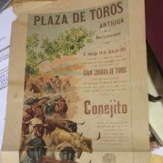 Carteles Toros: AÑO 1904. BARCELONA. CORRIDA DE TOROS. BANARILLO. CONEJITO Y LAGARTIJILLO-CHICO. 50X20CM APROX.. Lote 107494563