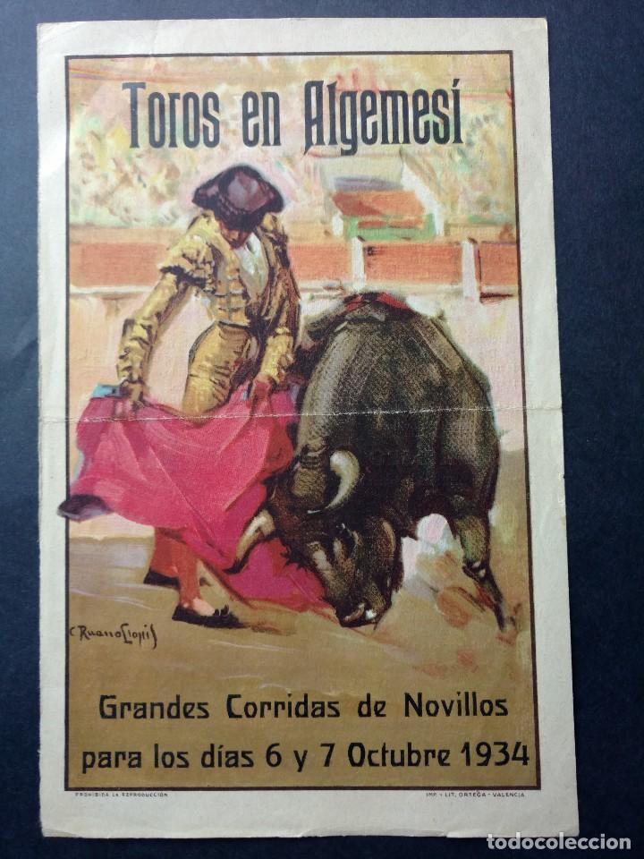 ZVCOLEC.PROGRAMA TOROS ALGEMESI 1934. 21X13,5 CM (Coleccionismo - Carteles Gran Formato - Carteles Toros)