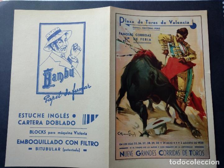ZVCOLEC.PROGRAMA TOROS VALENCIA 1936. 27X21,5CM GUERRA CIVIL (Coleccionismo - Carteles Gran Formato - Carteles Toros)