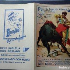 Affissi Tauromachia: ZVCOLEC.PROGRAMA TOROS VALENCIA 1936. 27X21,5CM GUERRA CIVIL. Lote 107532355