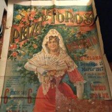 Carteles Toros: SE ADMITEN OFERTAS 1911 PRECIOSO CARTEL LITOGRÁFICO TOROS MONUMENTAL BARCELONA 6 MARZO. Lote 108834687