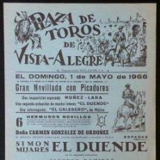 Carteles Toros: CARTEL PLAZA DE TOROS DE VISTA ALEGRE - 1966. Lote 109096659