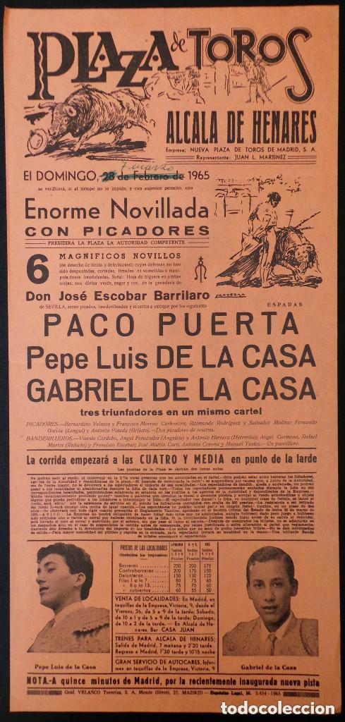 CARTEL PLAZA DE TOROS DE ALCALA DE HENARES - MADRID - 1965 (Coleccionismo - Carteles Gran Formato - Carteles Toros)