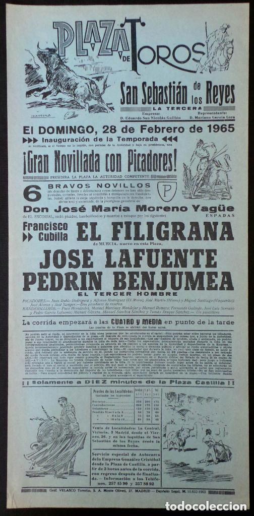 CARTEL PLAZA DE TOROS DE SAN SEBASTIAN DE LOS REYES MADRID - 1965 (Coleccionismo - Carteles Gran Formato - Carteles Toros)