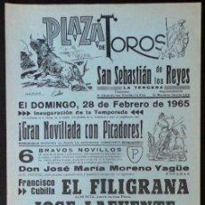 Carteles Toros: CARTEL PLAZA DE TOROS DE SAN SEBASTIAN DE LOS REYES MADRID - 1965. Lote 109096947