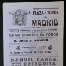 Carteles Toros: CARTEL PLAZA DE TOROS DE MADRID - 1966. Lote 109097363