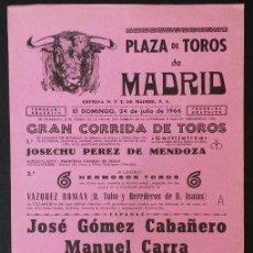 Carteles Toros: CARTEL PLAZA DE TOROS DE MADRID - 1966. Lote 109097487