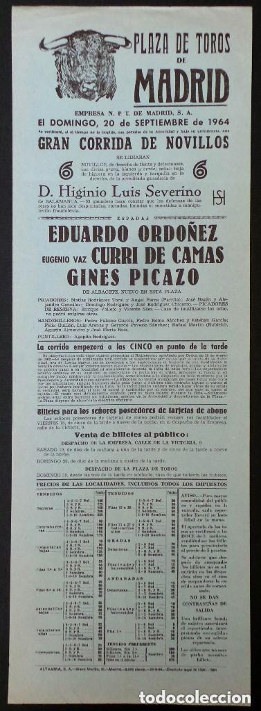CARTEL PLAZA DE TOROS DE MADRID - 1964 (Coleccionismo - Carteles Gran Formato - Carteles Toros)