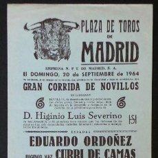 Carteles Toros: CARTEL PLAZA DE TOROS DE MADRID - 1964. Lote 109097579