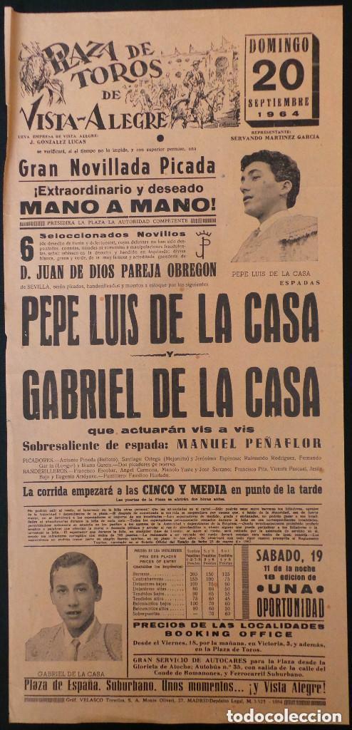 CARTEL PLAZA DE TOROS DE VISTA ALEGRE - 1964 (Coleccionismo - Carteles Gran Formato - Carteles Toros)
